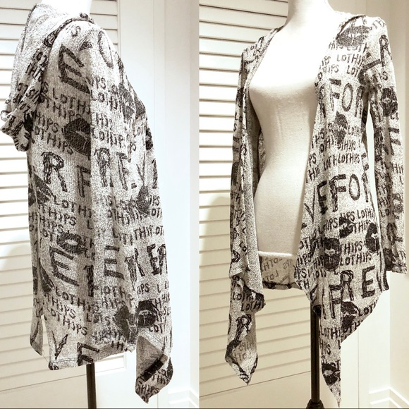 unbranded Sweaters - Graphic graffiti print typographic cardigan hooded